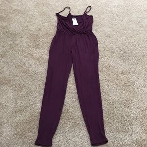 New! Boo hoo Size 4, berry wrap front jumpsuit